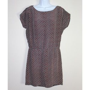 Joie Silk Dolman Red Black While Printed Dress